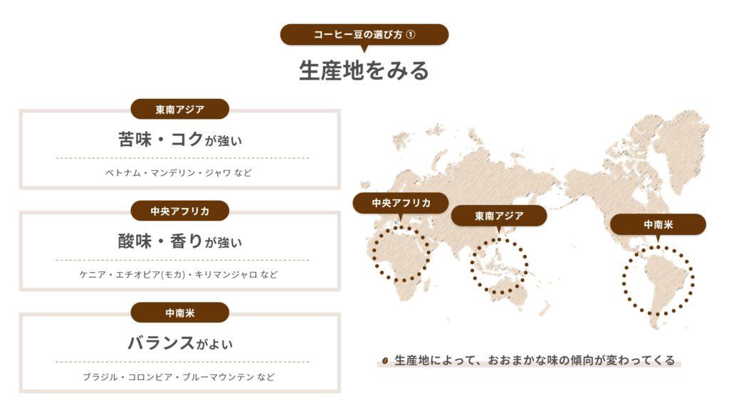 コーヒー豆の選び方|生産地をみる - カフェルテ